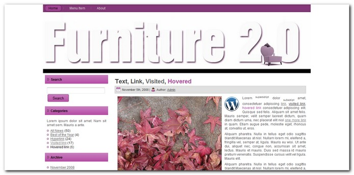 Furniture 2.0 Tema para WordPress 3.0