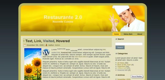 Restaurante 2.0 Plantilla para WordPress 3.0