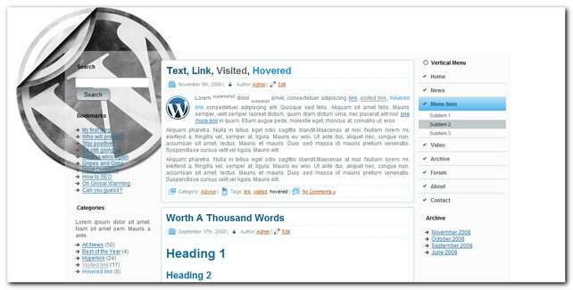 Blog 2.0 Plantilla para WordPress 3.0.1