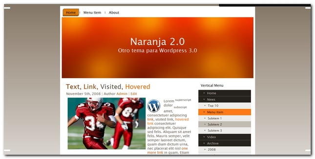 Naranja 2.0 Plantilla para wordpress 3.0