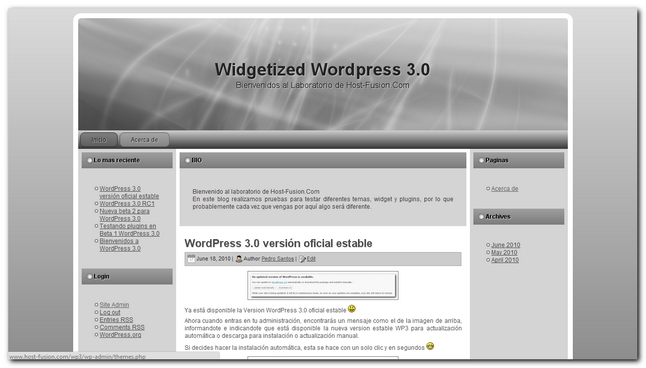 widgetized 2.0 plantilla para wordpress 3.0