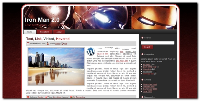 Plantilla para wordpress Iron Man 2.0