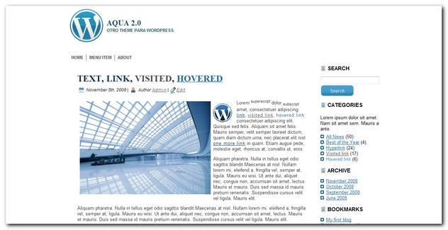Aqua 2.0 theme widgetizado para wordpress