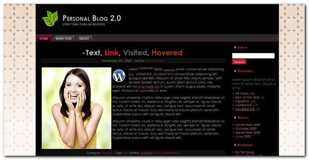 Nuevo Theme para WordPress Personal Blog 2.0