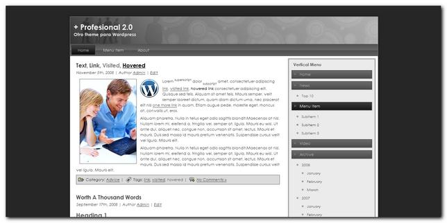 Profesional 2.0 nuevo theme para wordpress Gratis