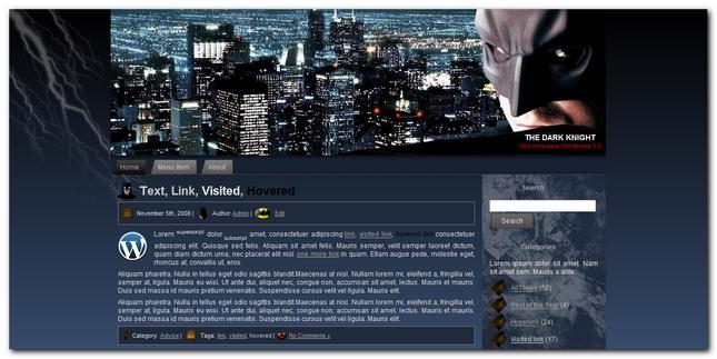 The Dark Knight Theme para WordPress
