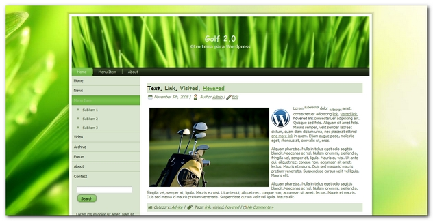 Golf 2.0 Nueva Plantilla para WordPress