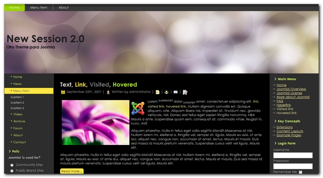 New Session 2.0 Otro Theme para Joomla