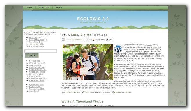 Ecologic 2.0 theme premium gratis para wordpress