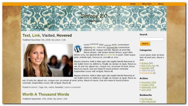 sinfony 2.0 plantilla wordpress gratis