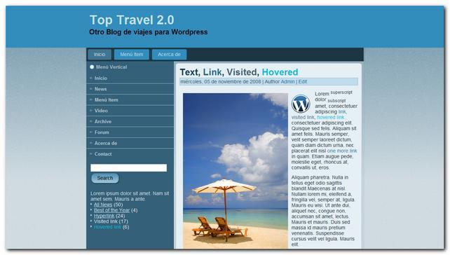 Top Travel 2.0 nueva plantilla para wordpress