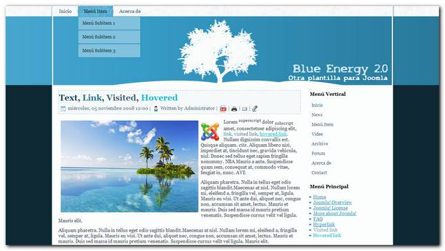 Blue Energy 2.0 nueva plantilla gratis para joomla