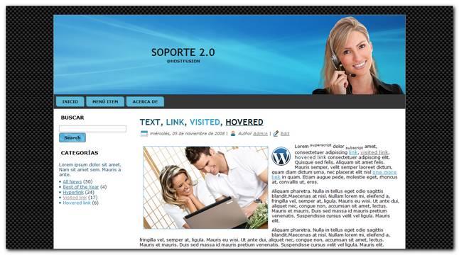 soporte 2.0 plantilla para wordpress