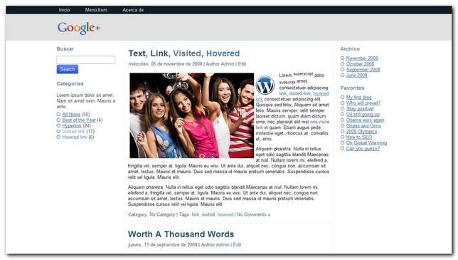 Google + Theme Premium para WordPress 3.2.1
