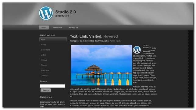 Studio 2.0 Theme premium para WordPress 3.2