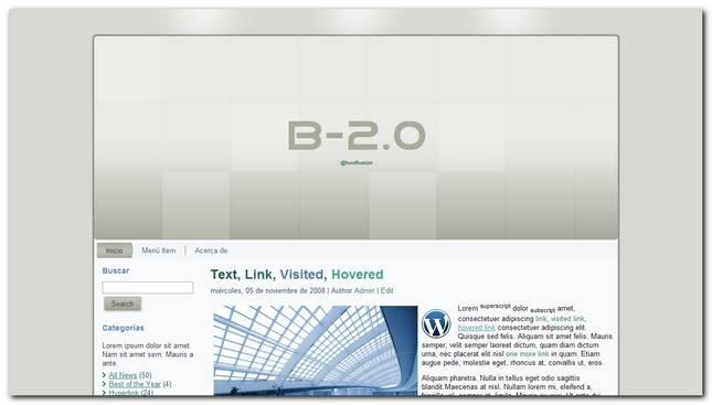 B 2.0 nueva plantilla para WordPress 3.2.1