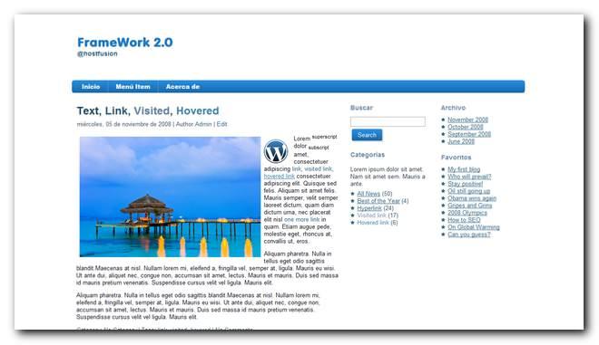 FrameWork 2.0 nuevo theme premium Gratis para WordPress