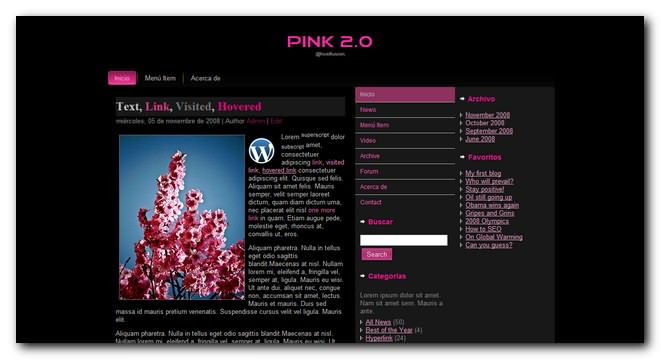 Nuevo Theme Premium para WordPress Gratis, Pink 2.0