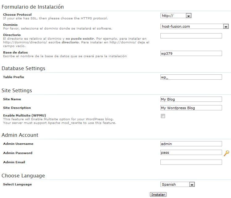 formulario de instalación WordPress