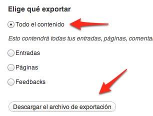 Exportar WordPress