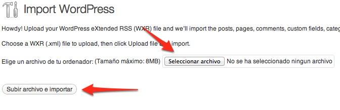 comenzar a importar wordpress