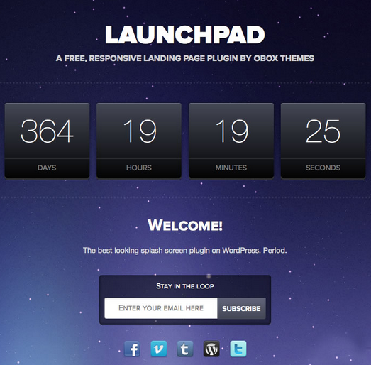 Launchpad Landing page para WordPress