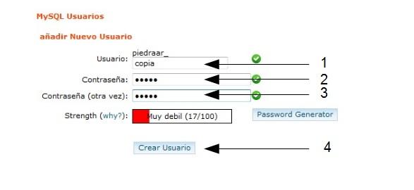 Crear usuario BBDD