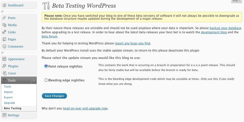 beta testing WordPress