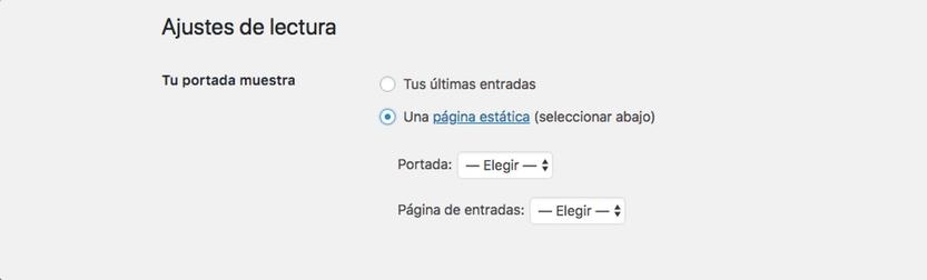 Cambiar la página de inicio de WordPress