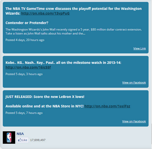 fedd del Facebook de la NBA
