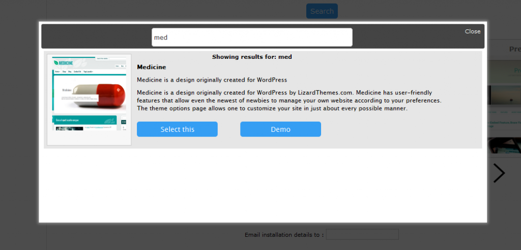 Buscador de Themes WordPress