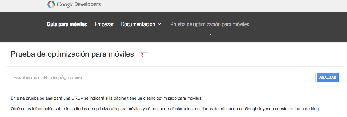 Test de optimización web para móviles