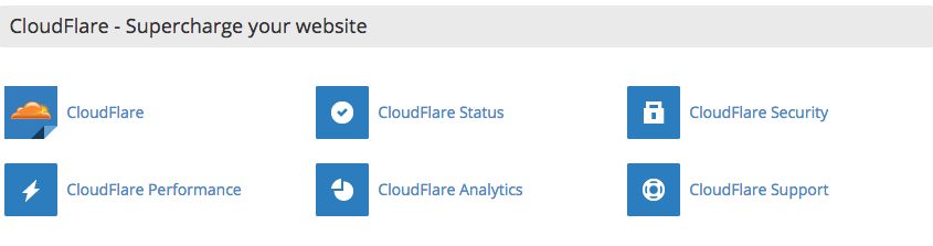 Cloudflare cPanel panel de control