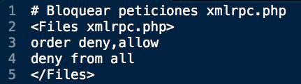 código bloqueo xlmrpc WordPress
