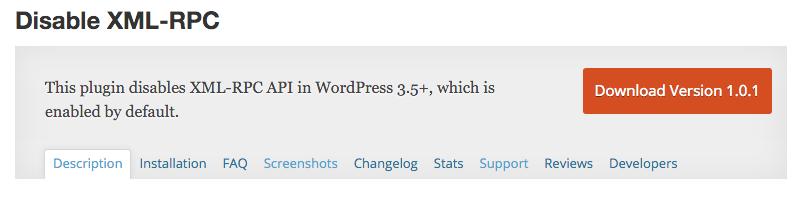 Plugin WordPress Disable XLM-RPC