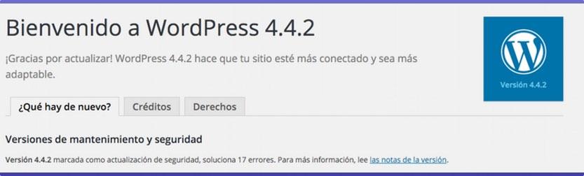 WordPress 4.2.2 Actualización mantenimiento y seguridad