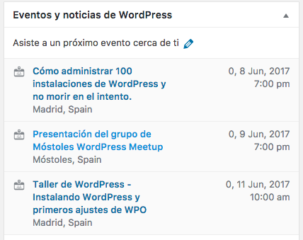 Widgets Wordcamps y Meetups