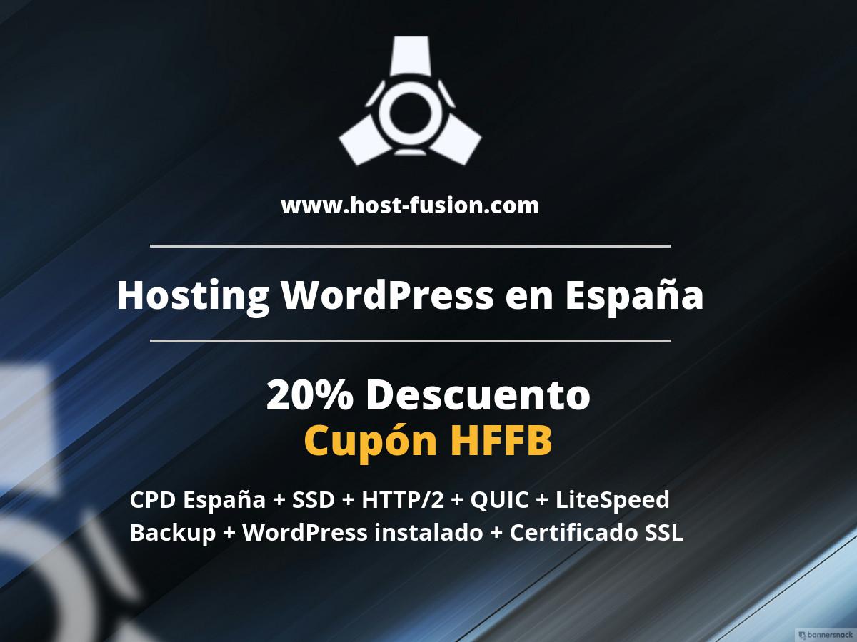 20% descuento en hosting para WordPress en Host-Fusion.com