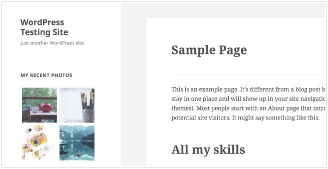 widget galería fotográfica para WordPress 4.9