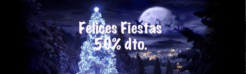 felices fiestas 50% descuento en hosting