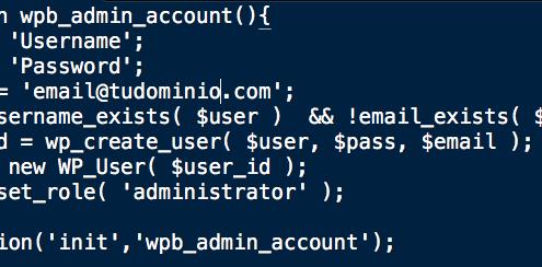 añadir un usuario administrador a WordPress utilizando el ftp