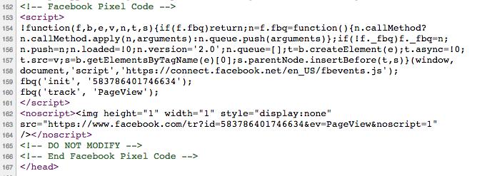 Insertar Pixel Facebook manualmente