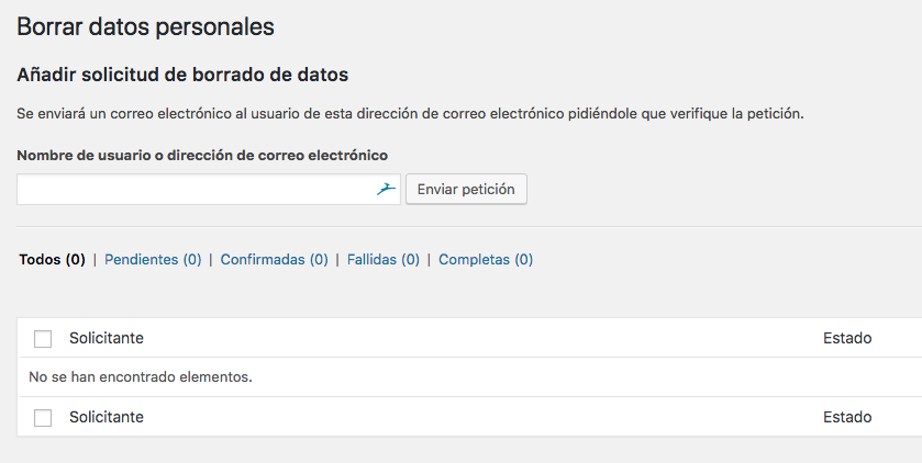 Borrado de datos WordPress 4.9.6
