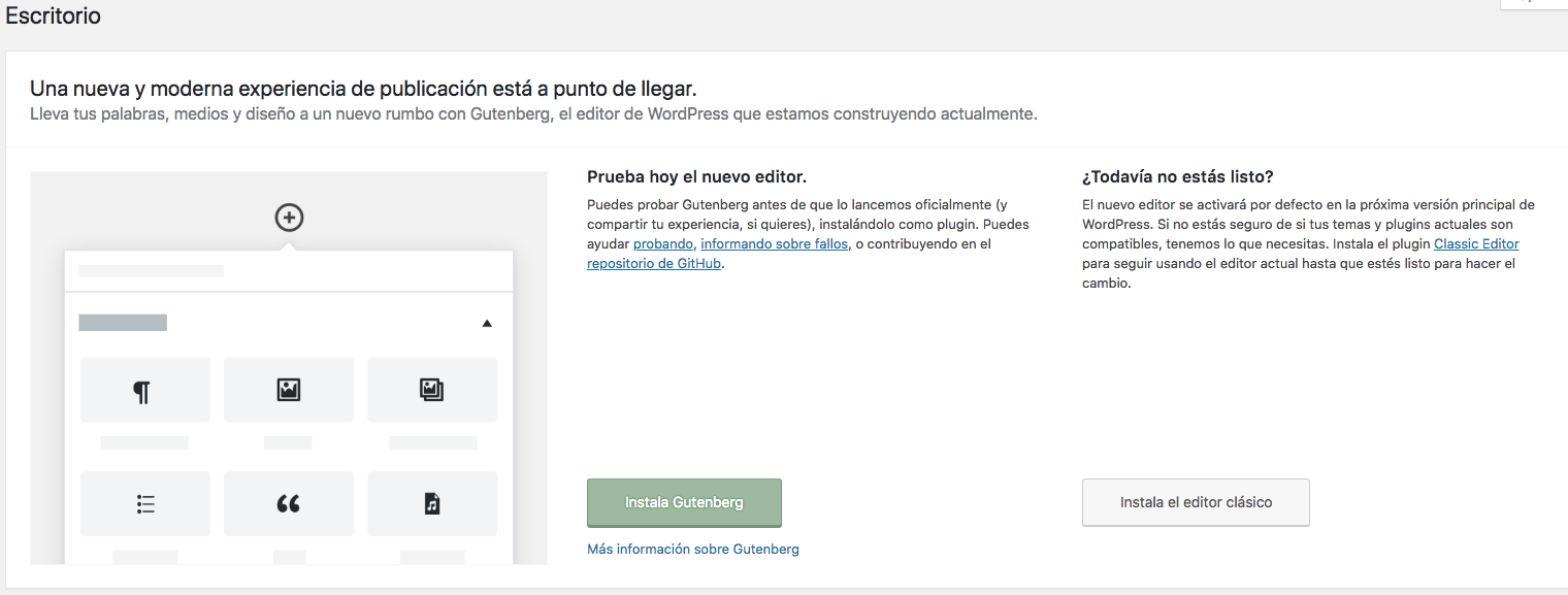 Pantalla Gutenberg WordPress