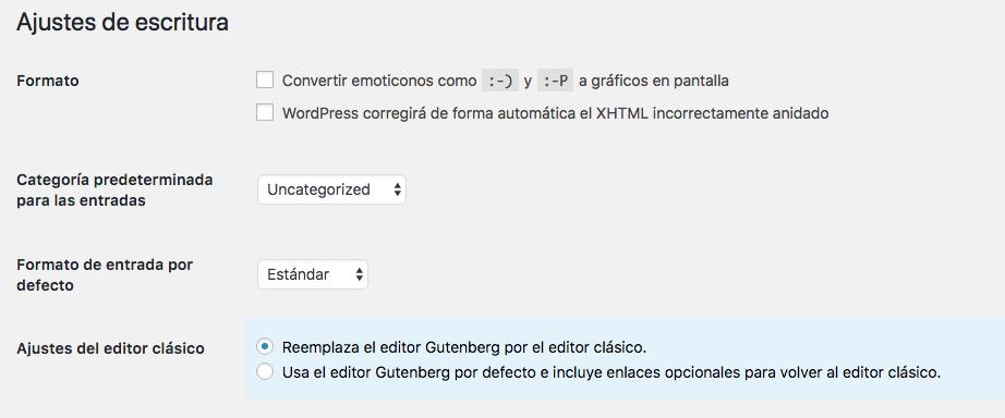 Opciones del editor clásico en WordPress
