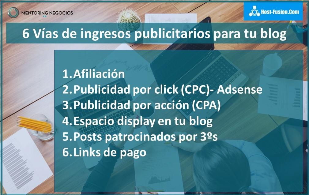 6 vías de ingresos publicitarios para tu blog