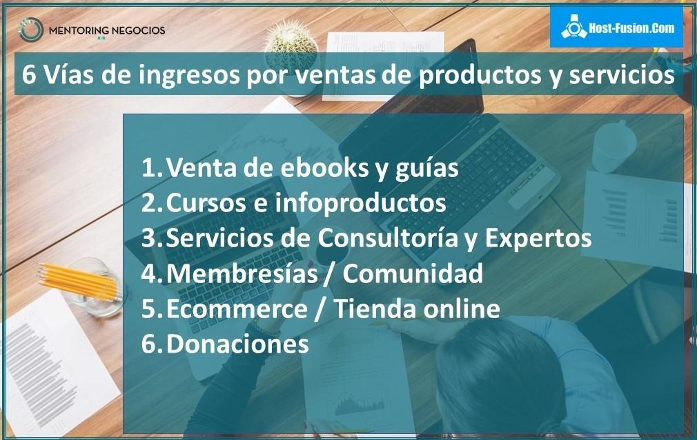 6 vías de ingresos por ventas de productos y servicios