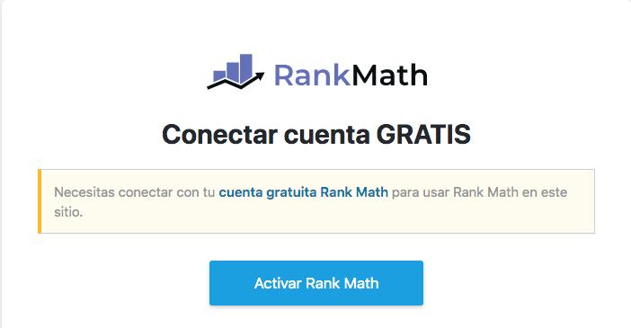 Conectar cuenta Rank Math SEO