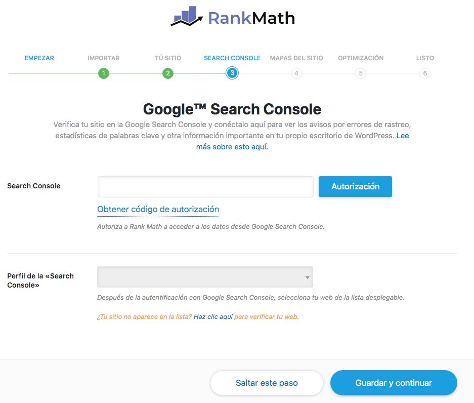 Añadir Google Search Console Rank Math SEO