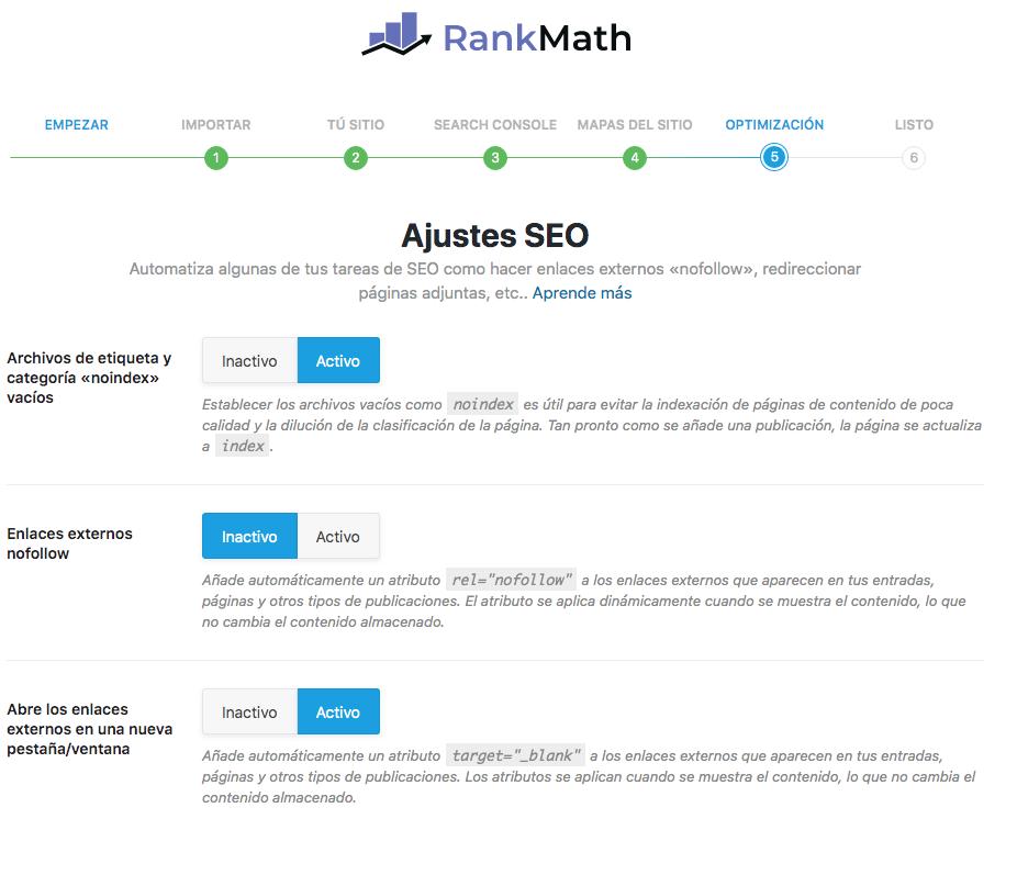 Ajustes SEO en Rank Math SEO